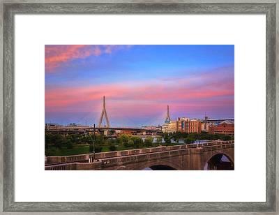Leonard P Zakim Bridge Sunset Framed Print by Joann Vitali