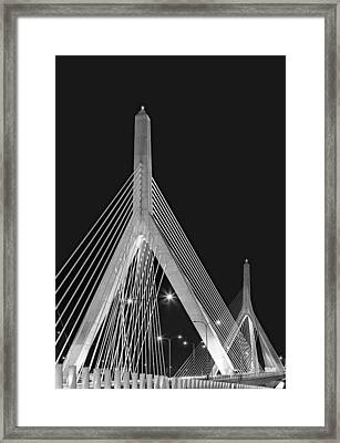 Leonard P. Zakim Bunker Hill Memorial Bridge Bw II Framed Print