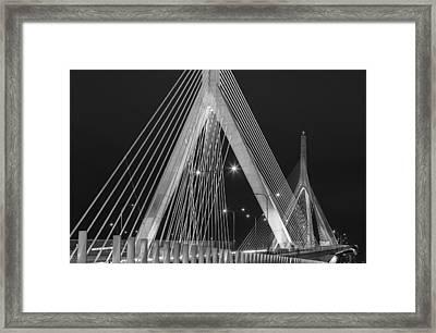 Leonard P. Zakim Bunker Hill Memorial Bridge Bw Framed Print by Susan Candelario