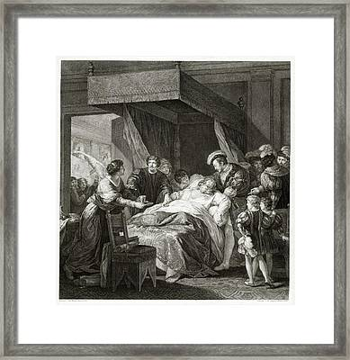 Leonardo Da Vicni On His Deathbed Framed Print by Library Of Congress