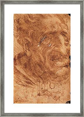 Leonardo Da Vinci, Head Of An Old Man Framed Print by Everett