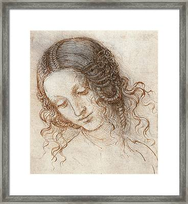 Leonardo Head Of Woman Drawing Framed Print