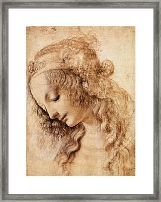 Leonardo Sketch Of A Woman's Head Framed Print by