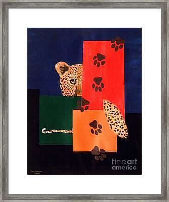 Leopard And Paws Framed Print