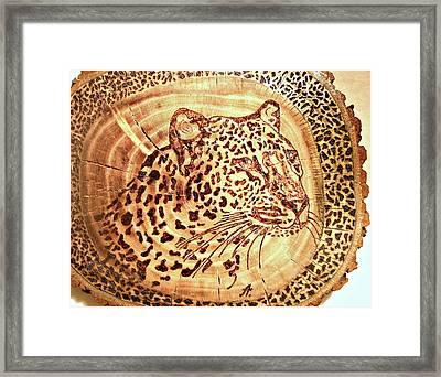Leopard Framed Print by Art  Pyrography