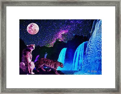 Leopard/chetah  In The Moonlight Framed Print