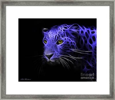 Leopard Fractal Blue Framed Print by Bruno Santoro