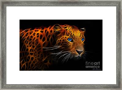 Leopard Fraktal Framed Print by Bruno Santoro