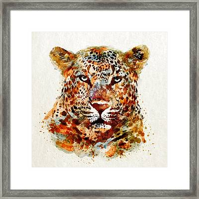 Leopard Head Watercolor Framed Print by Marian Voicu