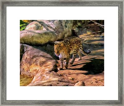 Framed Print featuring the painting Leopard by Michael Pickett