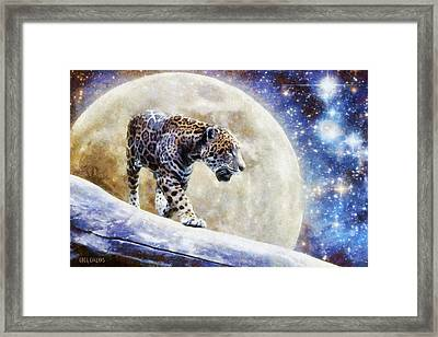 Framed Print featuring the painting Leopard Moon by Greg Collins
