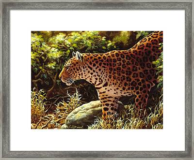 Leopard Painting - On The Prowl Framed Print by Crista Forest