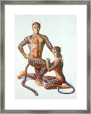 Leopard People Framed Print by Andrew Farley