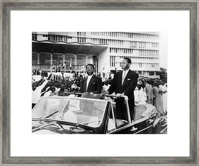 Framed Print featuring the photograph Leopold Sedar Senghor (1906-2001) by Granger