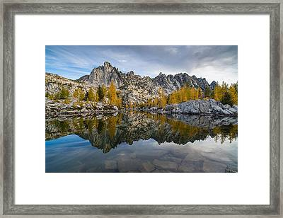 Leprechaun Lake Larches And Prusik Peak Framed Print by Mike Reid