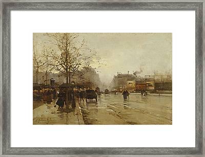 Les Boulevards Paris Framed Print by Eugene Galien-Laloue