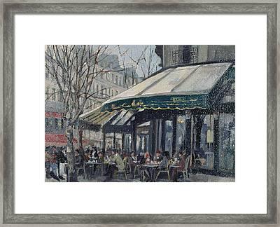 Les Deux Magots, St Germain Des Pres, Paris, 1998 Oil On Canvas Framed Print