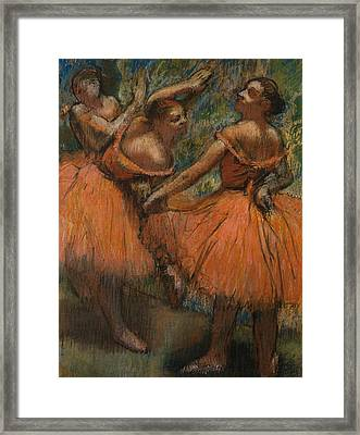 Les Jupes Rouge Framed Print by Edgar Degas