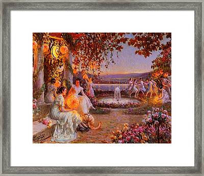 Framed Print featuring the painting Les Lampions   by Delphin Enjolras