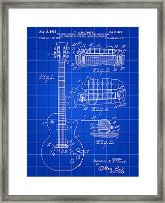 Les Paul Guitar Patent 1953 - Blue Framed Print by Stephen Younts