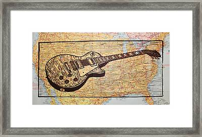 Les Paul On Usa Map Framed Print by William Cauthern