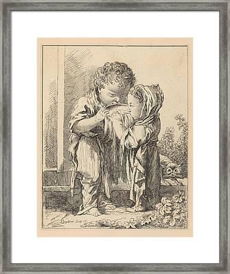 Les Petits Buveurs De Lait The Little Framed Print by Madame la Marquise de Pompadour