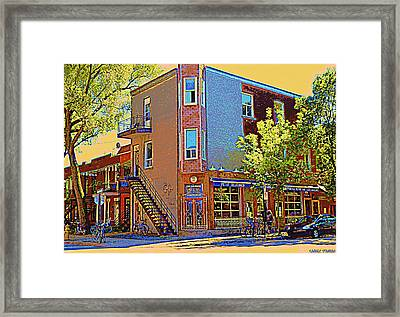Les Saveurs Cafe Resto Grillades Tapas Petit Dejeuner Montreal French Cafe City Scene Carole Spandau Framed Print by Carole Spandau