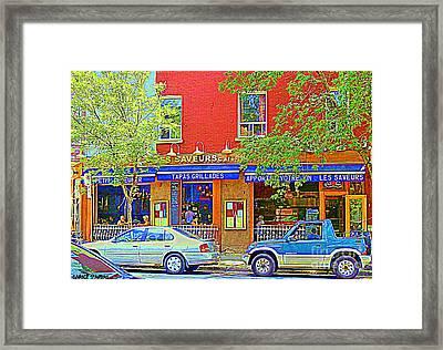 Les Saveurs Tapas Grillades Apportez Votre Vin Montreal Cafe Art Scene By Carole Spandau Framed Print by Carole Spandau
