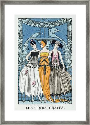Les Trois Graces Framed Print by Georges Barbier