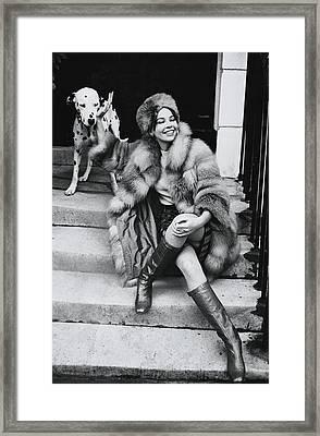 Leslie Caron Wearing A Fox Coat Framed Print