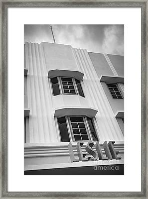 Leslie Hotel South Beach Miami Art Deco Detail 2 - Black And White Framed Print by Ian Monk