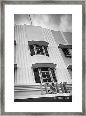 Leslie Hotel South Beach Miami Art Deco Detail 2 - Black And White Framed Print