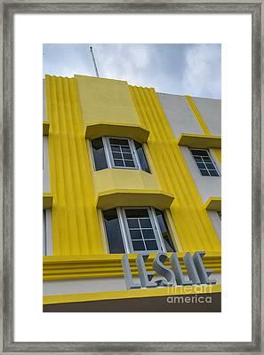 Leslie Hotel South Beach Miami Art Deco Detail 2 Framed Print by Ian Monk