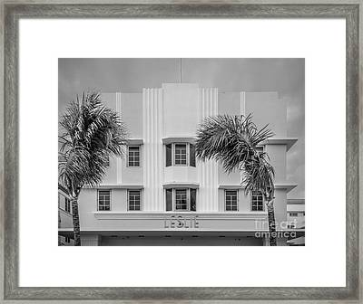 Leslie Hotel South Beach Miami Art Deco Detail 3 - Black And White Framed Print by Ian Monk