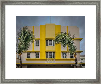 Leslie Hotel South Beach Miami Art Deco Detail 3 - Hdr Style Framed Print by Ian Monk