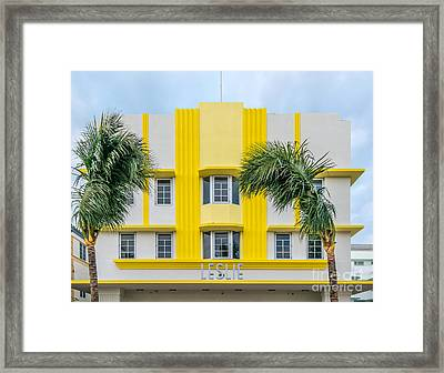 Leslie Hotel South Beach Miami Art Deco Detail 3 Framed Print by Ian Monk