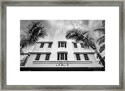 Leslie Hotel South Beach Miami Art Deco Detail - Black And White Framed Print