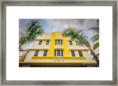Leslie Hotel South Beach Miami Art Deco Detail - Hdr Style Framed Print by Ian Monk