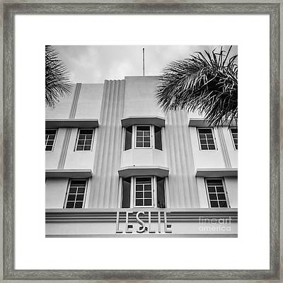 Leslie Hotel South Beach Miami Art Deco Detail - Square - Black And White Framed Print by Ian Monk