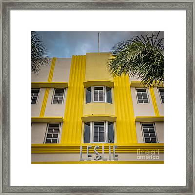 Leslie Hotel South Beach Miami Art Deco Detail - Square - Hdr St Framed Print by Ian Monk