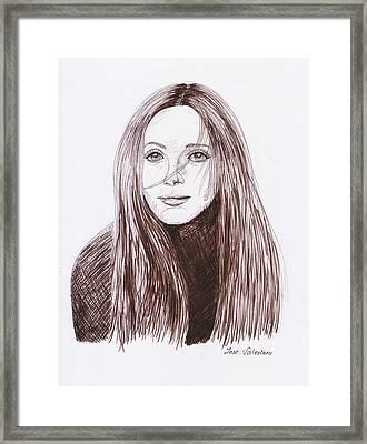 Leslie Mann Framed Print by M Valeriano