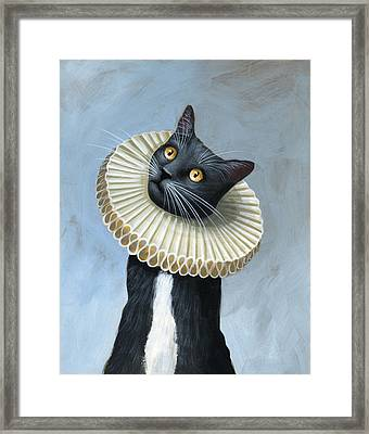 Less Is More ... Tuxedo Cat Art Painting Framed Print by Amy Giacomelli