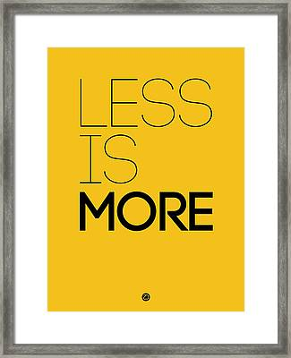 Less Is More Poster Yellow Framed Print by Naxart Studio