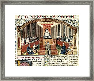 Lesson Of Theology 15th C.. Gothic Art Framed Print
