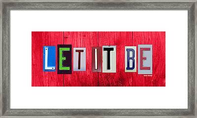 Let It Be License Plate Letter Vintage Phrase Word Artwork On Red Wood Framed Print by Design Turnpike