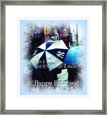 Let It Snow - Happy Holidays - Ny Yankees Holiday Cards Framed Print by Miriam Danar
