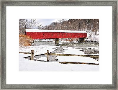 Connecticut Covered Bridge Snow Scene By Thomasschoeller.photography  Framed Print by Thomas Schoeller