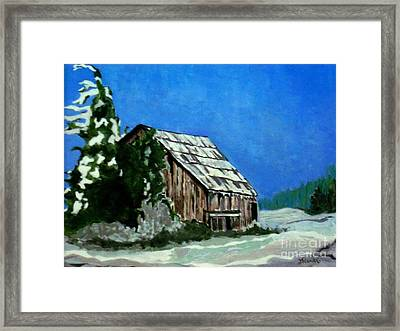 Framed Print featuring the painting L'etable  The Barn by Joyce Gebauer