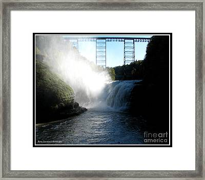 Letchworth State Park Upper Falls And Railroad Trestle Framed Print