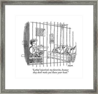 Lethal Injection's My Favorite Framed Print by Jack Ziegler